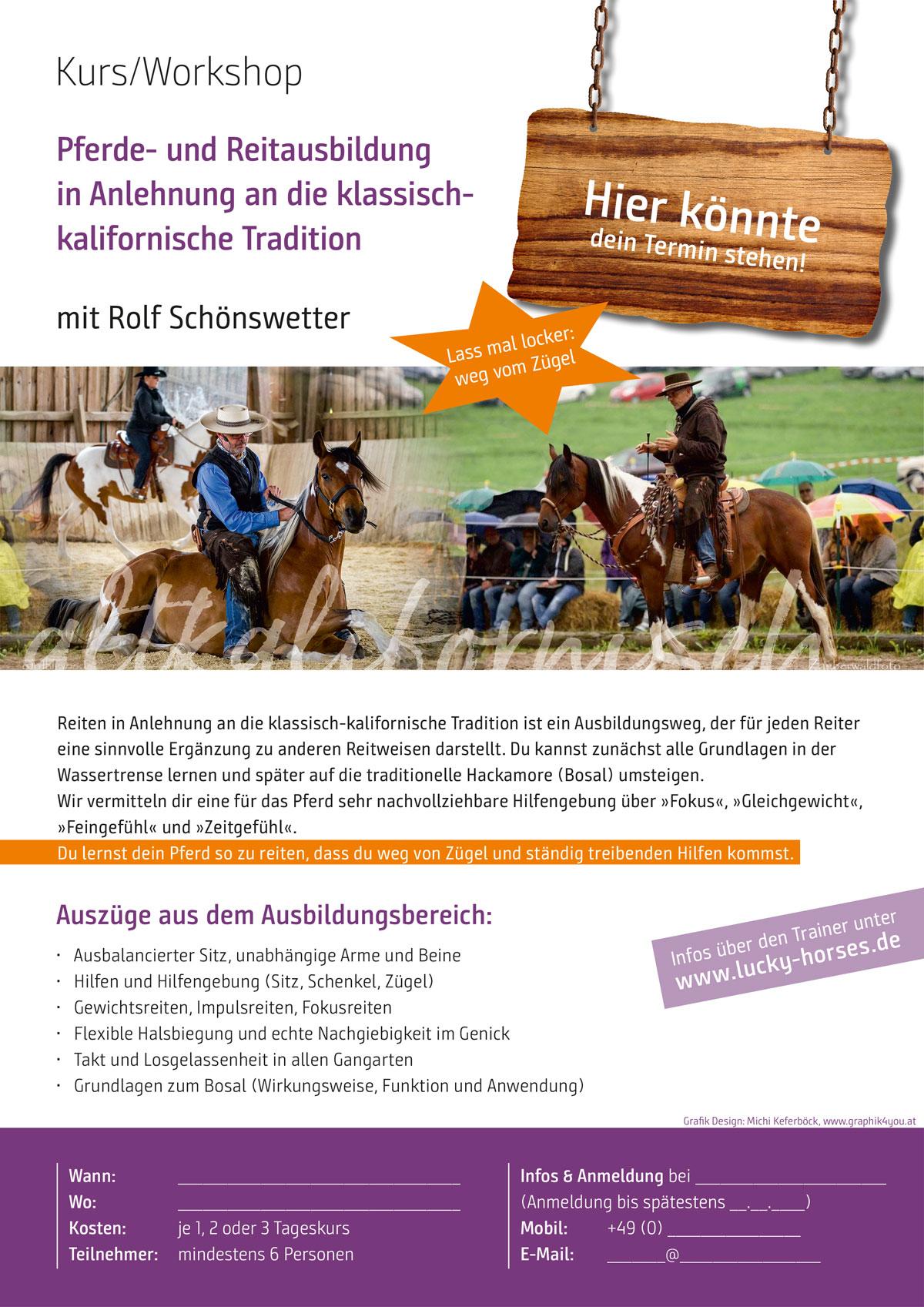 Pferde- und Reitausbildung in Anlehnung an die klassisch-kalifornische Tradition