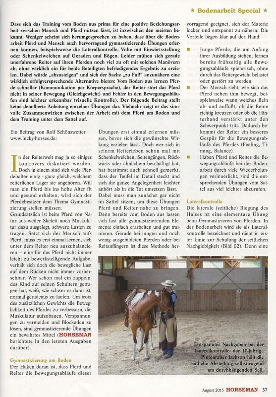 Zeitschrift Horseman: Vom Boden in den Sattel (Teil 1)