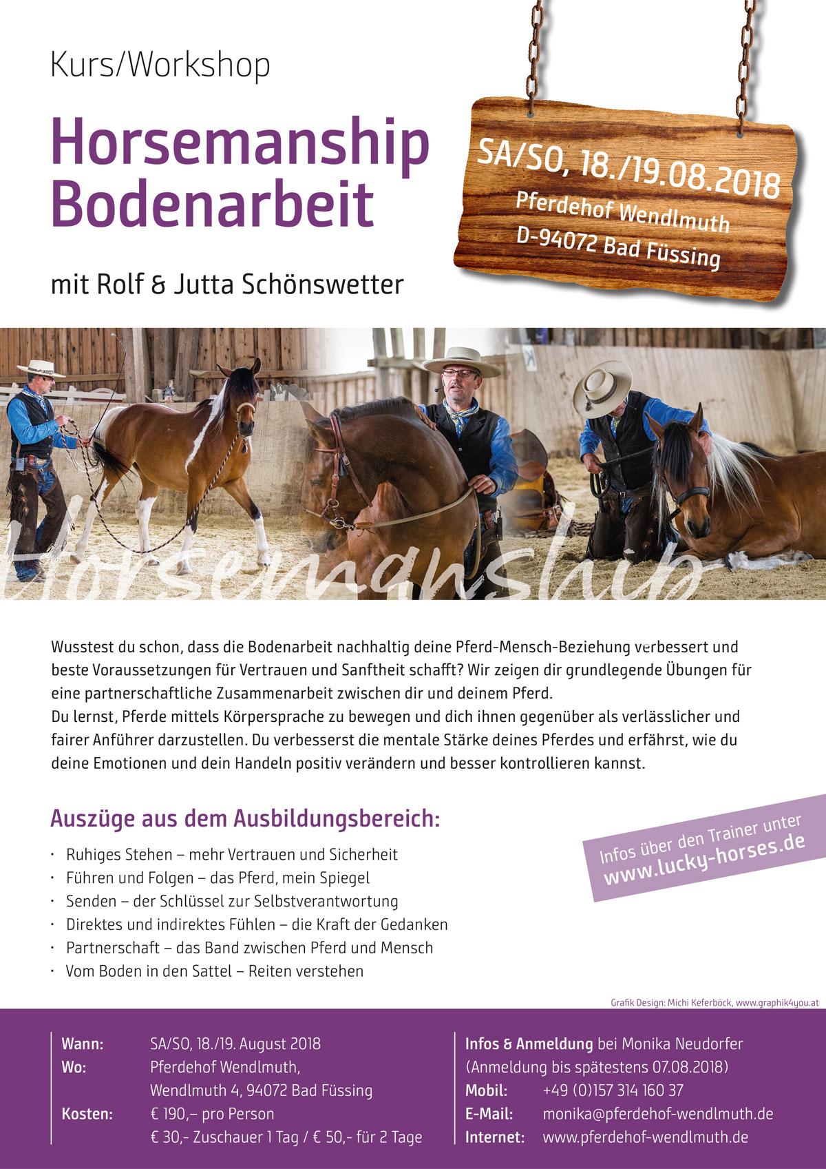 Horsemanship Bodenarbeit: 2-Tageskurs am Pferdehof-Wendlmuth